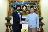 Ajay Banga, President and CEO of MasterCard Worldwide, with Governor U Than Nyein, of the Central Bank of Myanmar